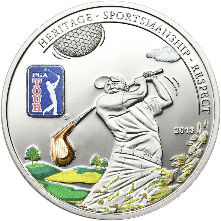 Ασημένιο Νόμισμα Γκολφ PGA, Μπαστούνι, 2013 Αναμνηστικό ασημένιο τρισδιάστατο νόμισμα ττων 5 $ από τις Νήσους Κουκ, 2013 , 2013 για το    παγκόσμιο οργανισμό γκόλφ PGA TOUR.