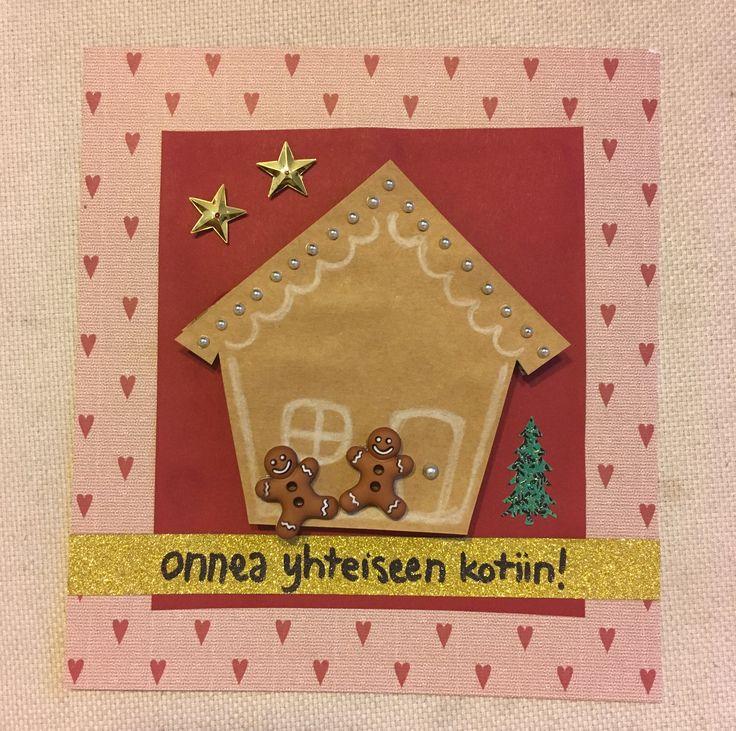 Tuparikortti, yhteinen koti, joulukuu, piparitalo, tupaantuliaiset, kortti, diy, house warming party, card, december, ginger bread house