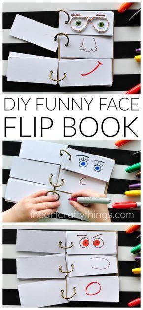 Zelfmaak boek grappige gezichten - Knutselen met kinderen - diy funny face flip book - I heart crafty things