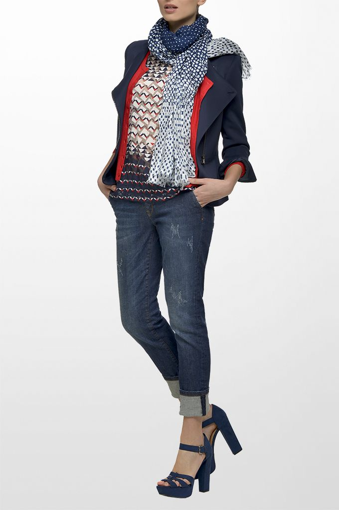 Sarah Lawrence - crew neck side zip blazer, long sleeve knitted cardigan, short sleeve printed blouse, straight leg denim pant, printed scarf.