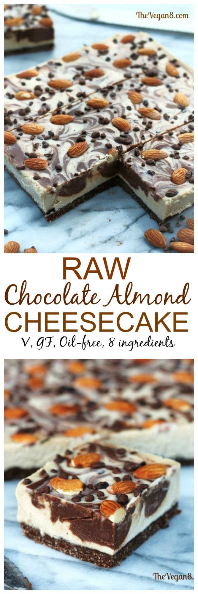 Fool your dairy loving friends with this no-bake easy Chocolate Almond Cheesecake!
