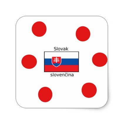 Slovak Language And Slovakia Flag Design Square Sticker - craft supplies diy custom design supply special