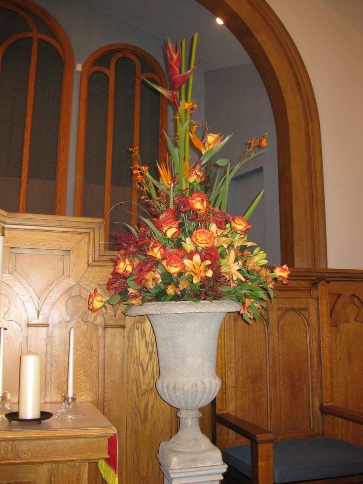 how to make a church pedestal flower arrangement