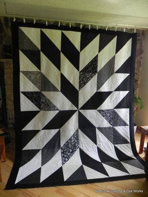 "Gorgeous Star Quilt in black and white - made from 14"" squares"