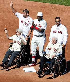 After taking their positions, the players all gathered around the oldest of the old-timers, Johnny Pesky and Bobby Doerr, who were pushed out to second base in wheelchairs by recently retired Jason Varitek and Tim Wakefield. David Ortiz is in the middle. Fenway 100th birthday. 04/20/12: Red Sox, 100Th Anniversaries, Sox Baseb, David Ortiz, Sox Legends, Fenway Parks, Boston Redsox, 100Th Fenway, 100 Years