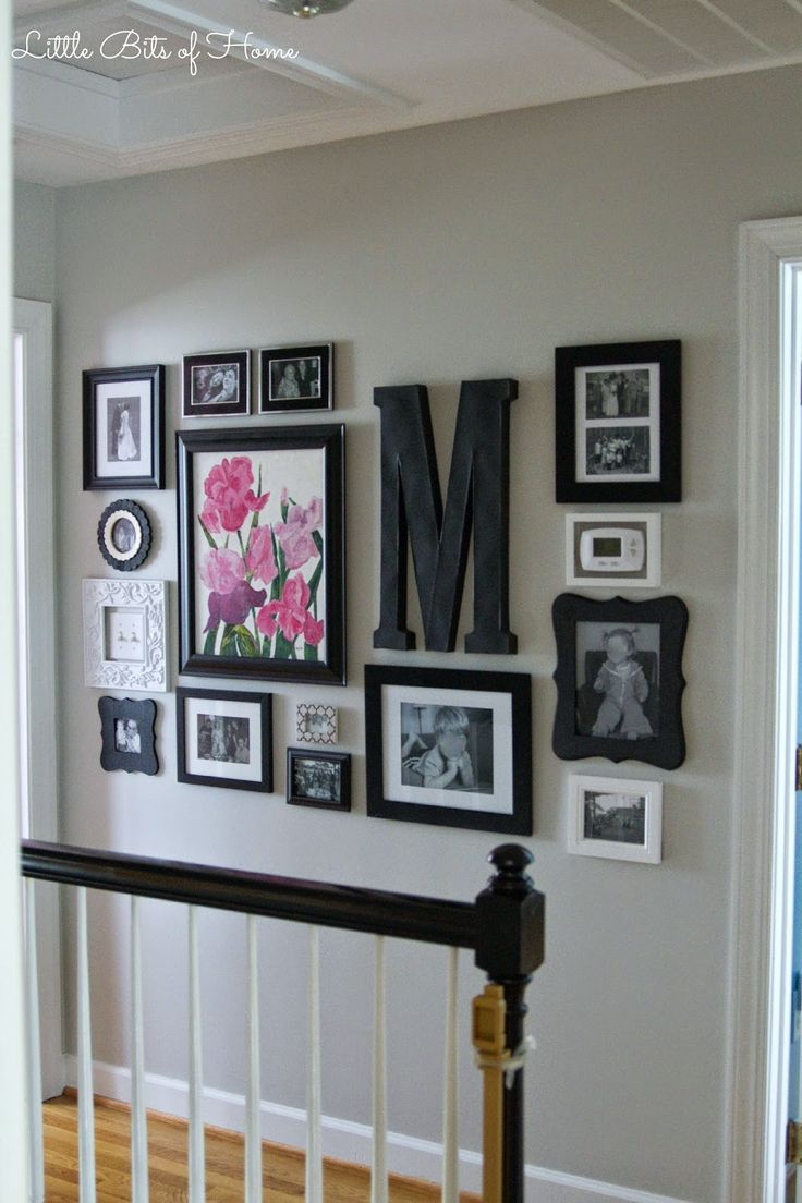 Little Bits Of Home Hallway Gallery Wall I Like This Arrangement Perhaps Upstairs Hall Love How The Light Switches And Thermostat Are Incorporated Into