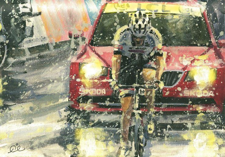 Rob Ijbema. < Tom Dumoulin. Tour de France 2016. 9^Tappa > Acrilico su tela, 2016