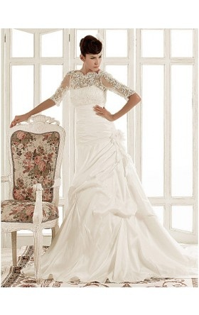 A-line Jewel Chapel Train Taffeta Wedding Dress