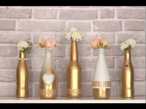 Garrafas Decoradas Com Barbante, Linhas ou Fios - DIY - Glass Bottle Decoration - YouTube