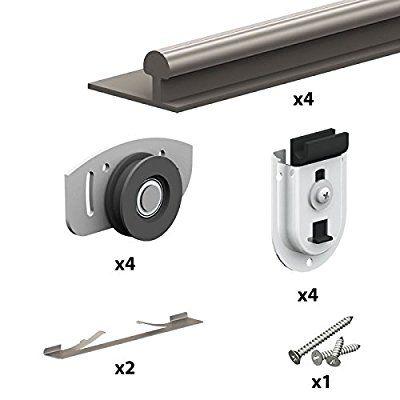 Schiebetürbeschlag ARES2, Schiene 1,20 m, 2 Schranktüren bis 70 kg