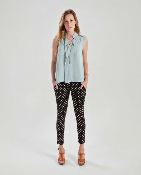 Epaulet sleeveless blouse $47.00