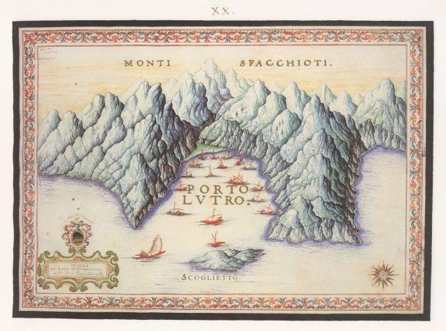 Άποψη του όρμου του Λουτρού στα Σφακιά... Άτλαντας του Φραντσέσκο Μπαζιλικάτα.. Francesco Basilicata..για την Κρήτη...1618 - 1638.