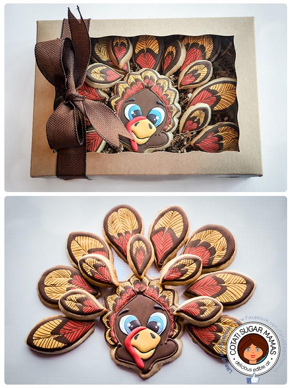 Thanksgiving Turkey Cookies  that are Displayed in a Cookie Box