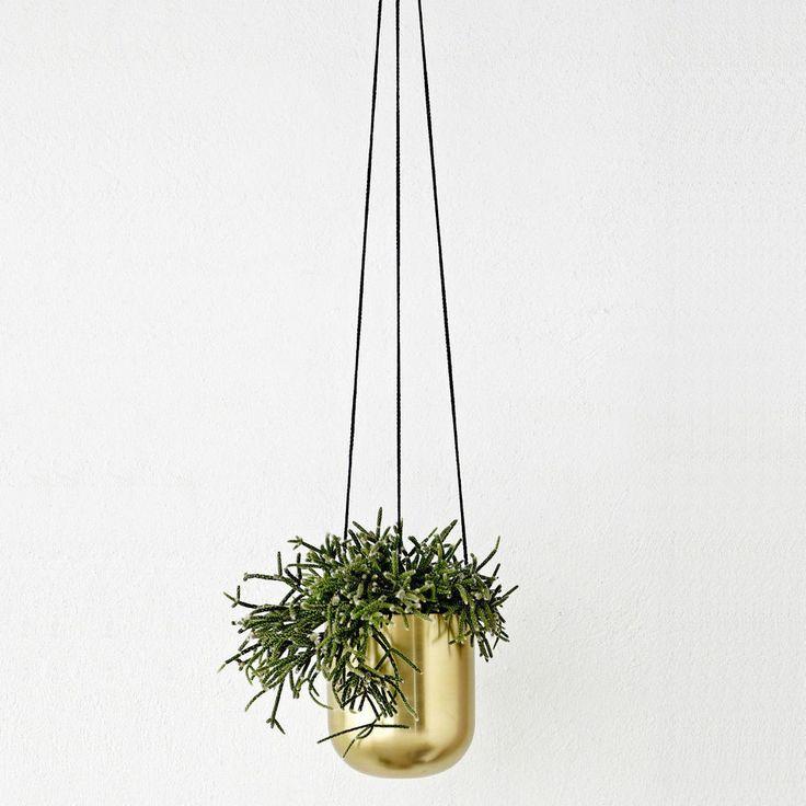 Brass Hanging Pot by BLOOMINGVILLE - Scandinavian Metal Planter New Home Decor