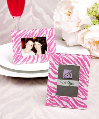 pink zebra pattern place card frame favors