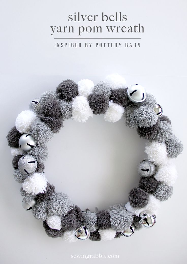 Does your home still ring with holiday spirit? Proof is in the wreath! The Sewing Rabbit shares her silver bells yarn pom pom wreath, a perfect addition to your home décor during the winter months