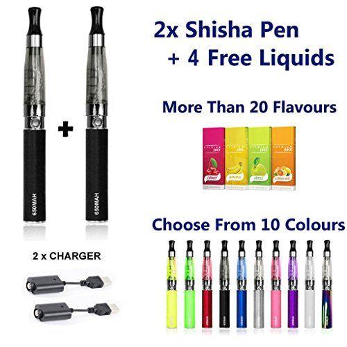 CE4�E-Shisha, wiederaufladbare elektronische Zigarette�/�Verdampfer in Schwarz, 4�Geschmacksrichtungen, kein Teer, kein Nikotin, kein Kohlenmonoxid, kein Tabak, 2 St�ck