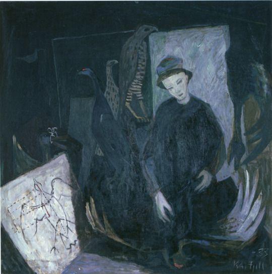 """Kai Fjell (1907-1989, Norvège) ~ """"The Preparant"""", 1933 ~ Oil on Canvas"""