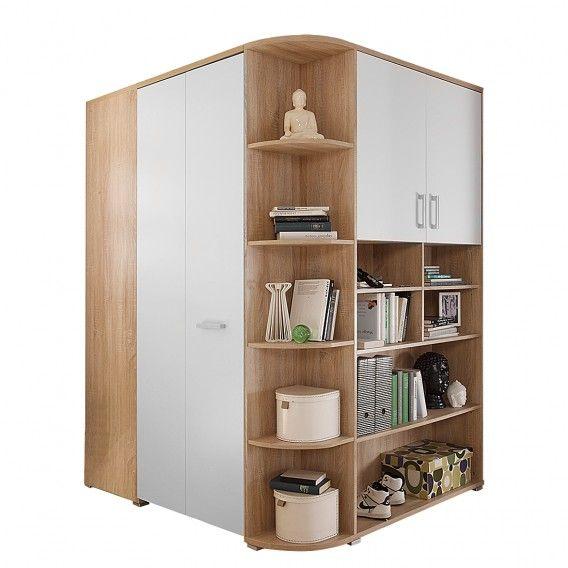 Cabina armadio ad angolo Corner (2 ante) - Quercia di Sonoma/Bianco | Home24
