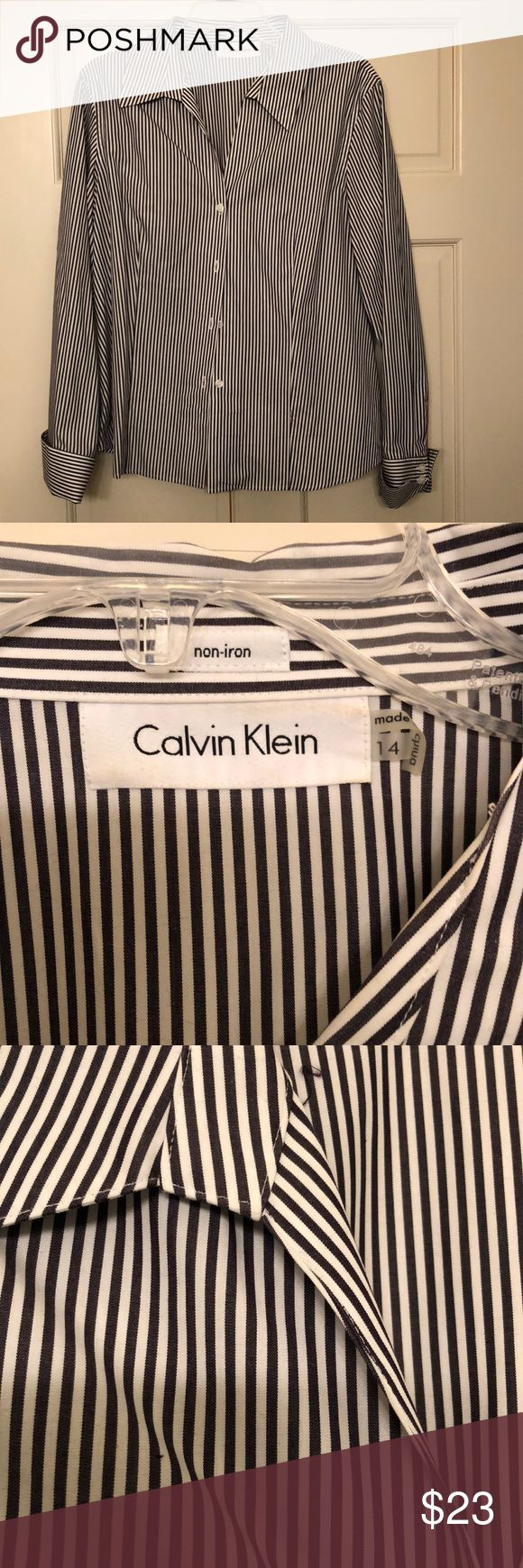 Calvin Klein Women's Button up Blouse/Dress Shirt Calvin Klein Women's Button up Blouse/Dress Shirt.  NWOT.  Great, crisp, no-iron dress shirt.  Pleated side for a nice, contoured fit. 100% cotton. Dark gray stripes.  Would look great under suit jacket or with dress pants or skirt for a nice, professional look. Non-smoking home Calvin Klein Tops Button Down Shirts