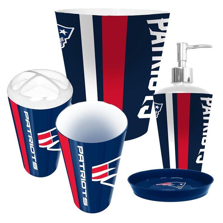 new england patriots nfl complete bathroom accessories 5pc set
