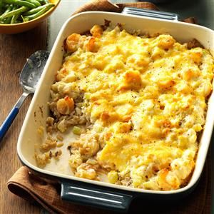 Shrimp & Crab Casserole Recipe -This is a quick and easy recipe that is truly delicious. The melt in your mouth flavors and different textures are comforting yet elegant. This is a great make-ahead dish, too. Just assemble, cover and refrigerate, than bake when ready. —Jan Bartley, Evergreen, North Carolina