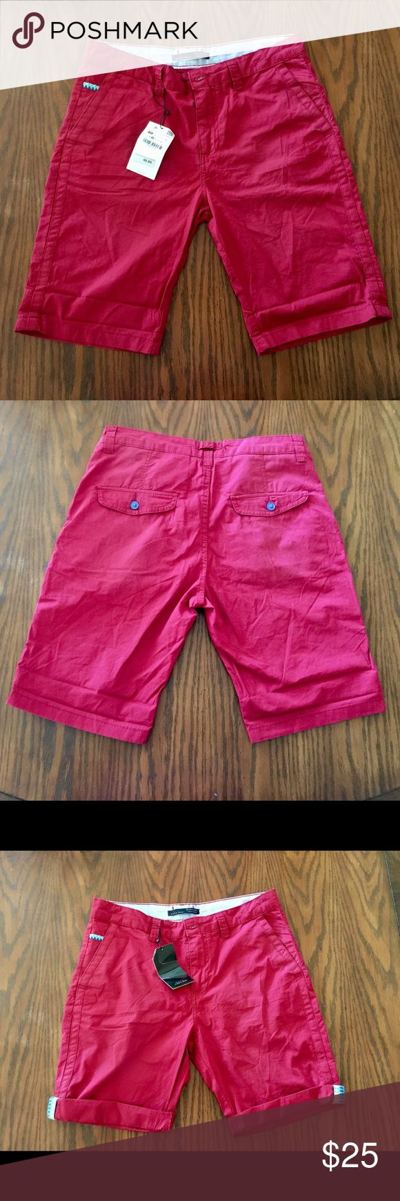 "ZARA Basic Bermuda Men's Shorts 100% Cotton Red 31 Men's Bermuda shorts with front & back pockets. Has Aztec/ tribal print on left pocket and when folded as shown in pictures. Waist size is USA 31 or EUR 40. Rise is 10.5"", inseam is 10"" & length is 21"". Zara Shorts Bermudas"