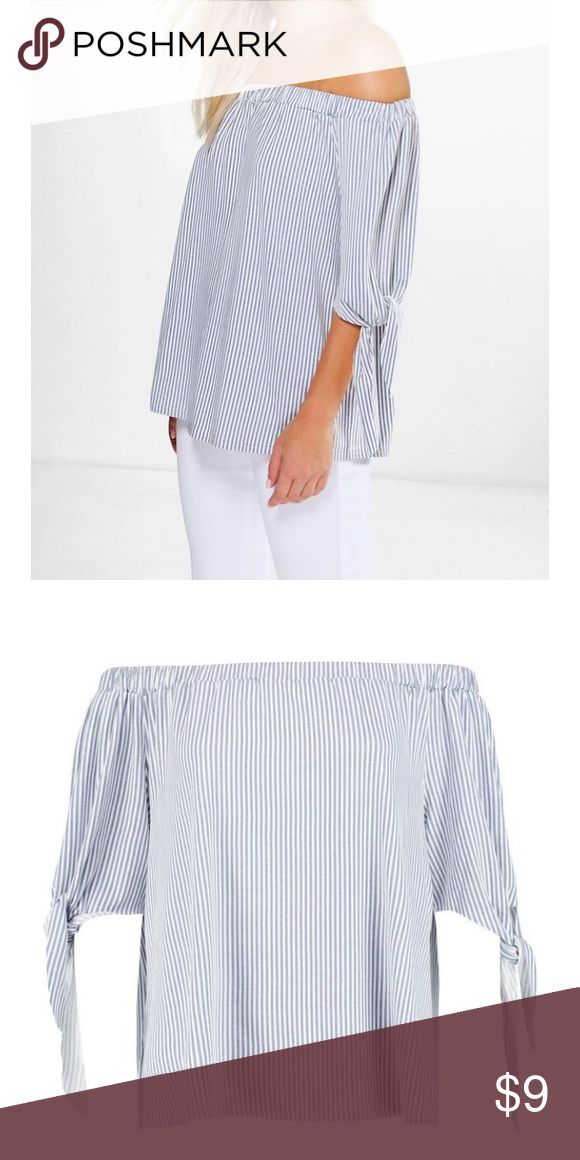 Boohoo off the shoulder top grey and white striped bardot top size small only worn once! Boohoo Tops