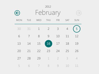 Metro style calendar