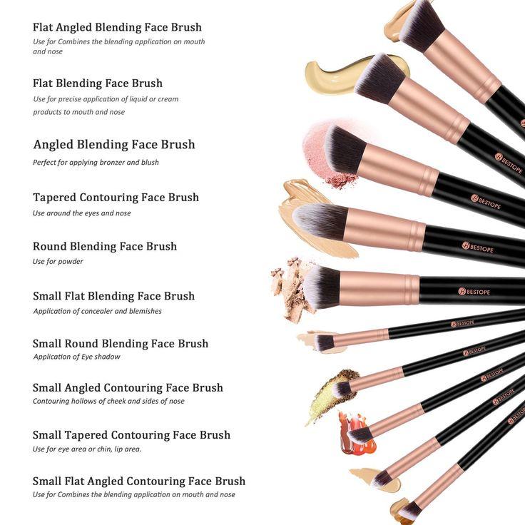 BESTOPE 10 Stück Professionelle Makeup Pinsel Lackierter Echtholzstiel Synthetisches Haar Pinselset Anzüge für Berufsverfassungs oder Ausgangsgebrauch mit Aufbewahrungstasche: Amazon.de: Beauty
