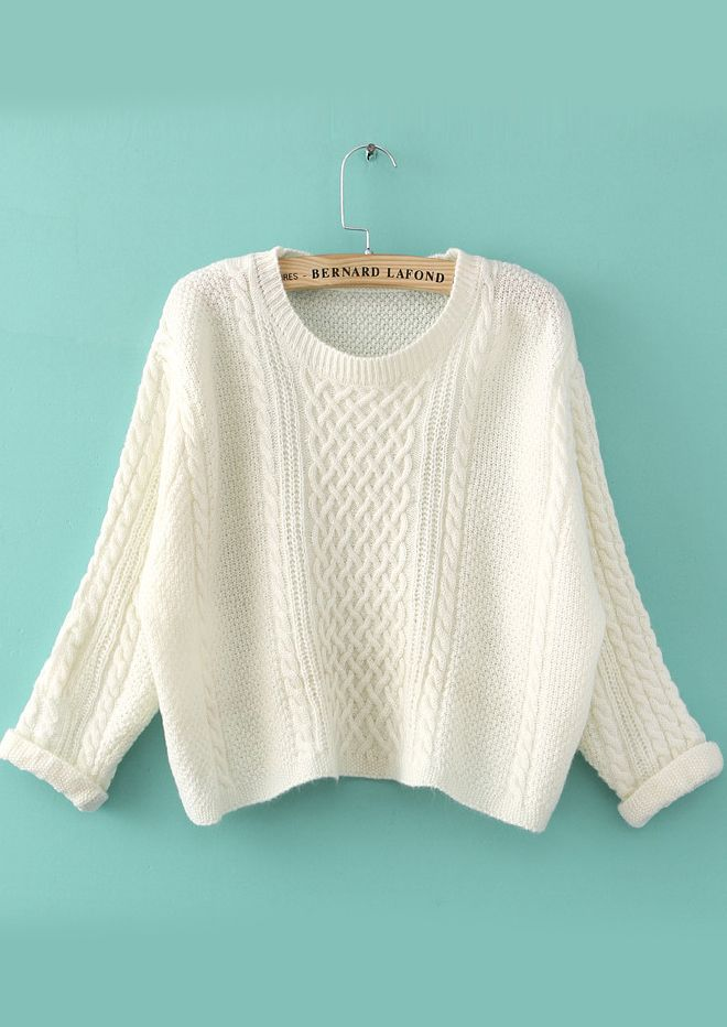 White Long Sleeve Cable Knit Crop Sweater 20.88