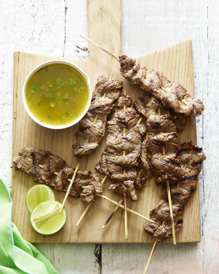 Flank Steak Skewers with Cilantro Dipping Sauce from www.whatsgabycooking.com (@whatsgabycookin)