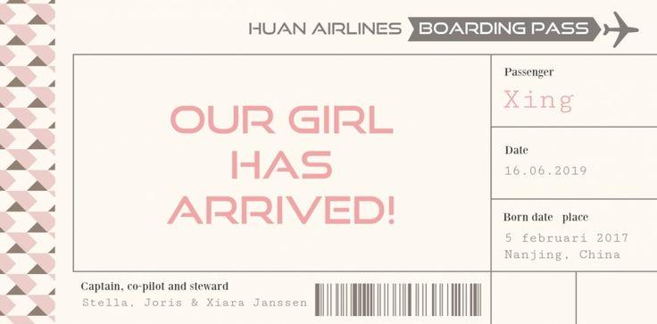 Adoptiekaartje Xing is een welkoms kaartje in de vorm van een vliegtuigticket. Origineel!