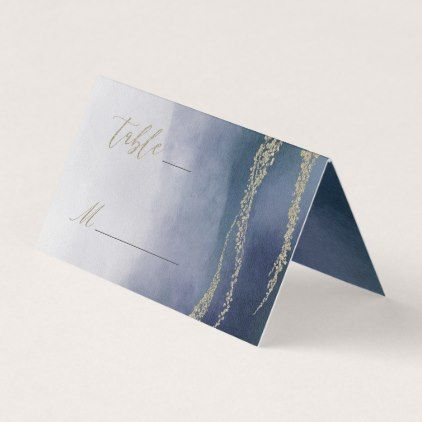 Awash Elegant Watercolor in Surf Table Number Place Card - gold wedding gifts customize marriage diy unique golden