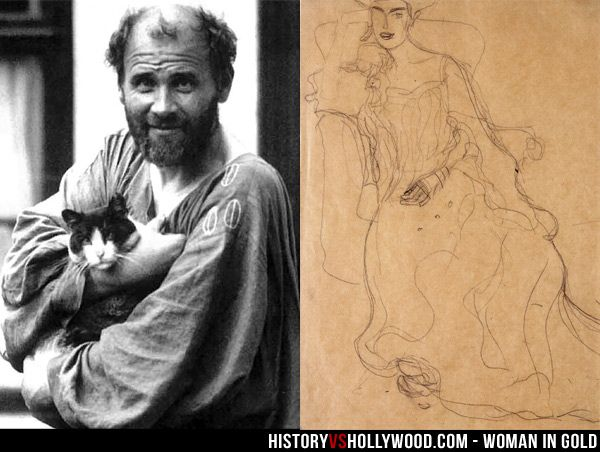 """Painter Gustav Klimt next to an early sketch of """"The Lady in Gold"""" portrait of Adele Bloch-Bauer. Read 'Woman in Gold: History vs. Hollywood' - http://www.historyvshollywood.com/reelfaces/woman-in-gold/"""