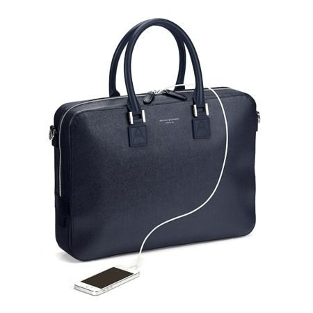 Small Mount Street Bag in Navy Saffiano from Aspinal of London