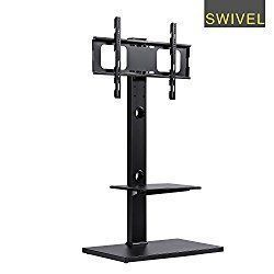 RFIVER Floor TV Stand with Universal Swivel Bracket Mount and Two Wood AV Shelves for 32 to 65 Inches Plasma/LCD/LED TVs-TF1001