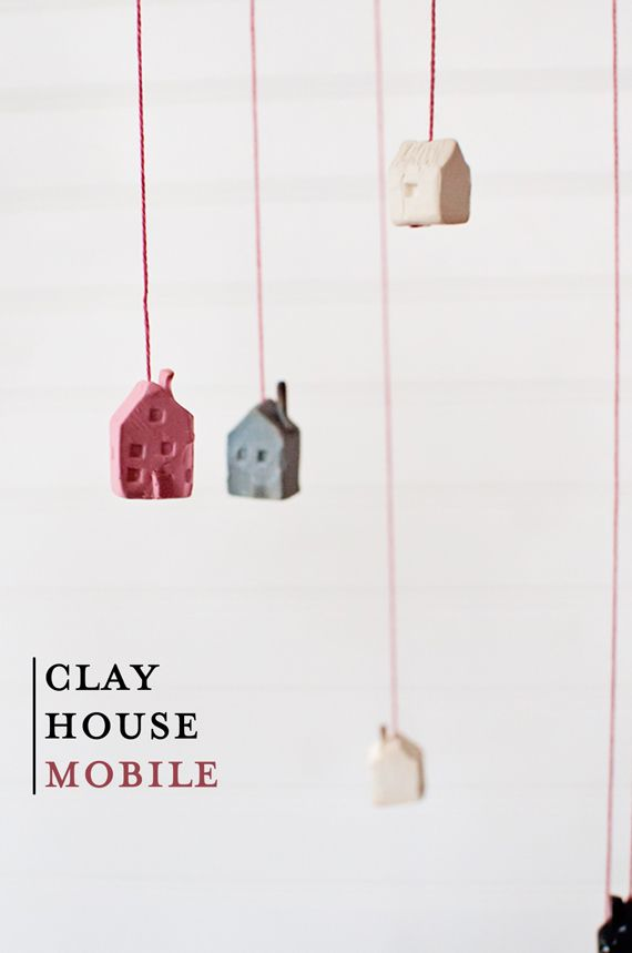 DIY clay house mobile