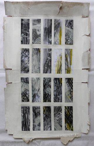 """""""two days in pieces"""" - mixed media on cardboard packaging by Ines Seidel"""