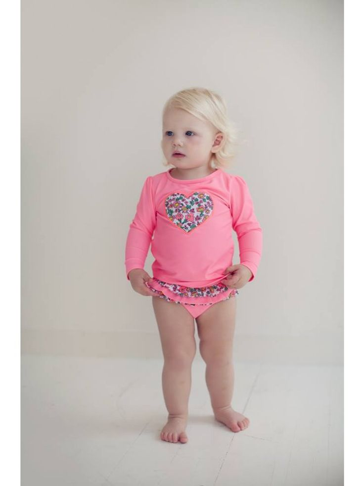 #Milky Floral Heart Rash Shirt - Long sleeve rash shirt offering sun protection. Team with the #Bikini bottoms also available for a complete look. Available at #rollercoasterkids.com.au