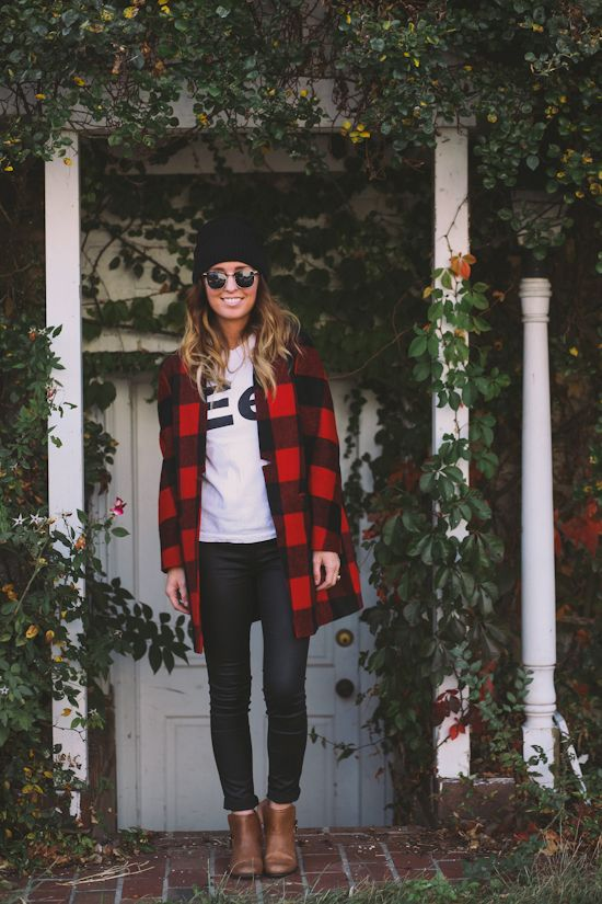 Skinny jeans, booties, tee, buffalo check flannel: