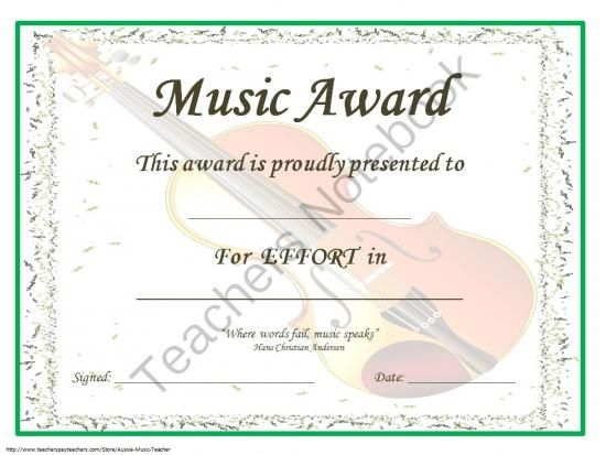 22 best music award sertificites images on Pinterest Award