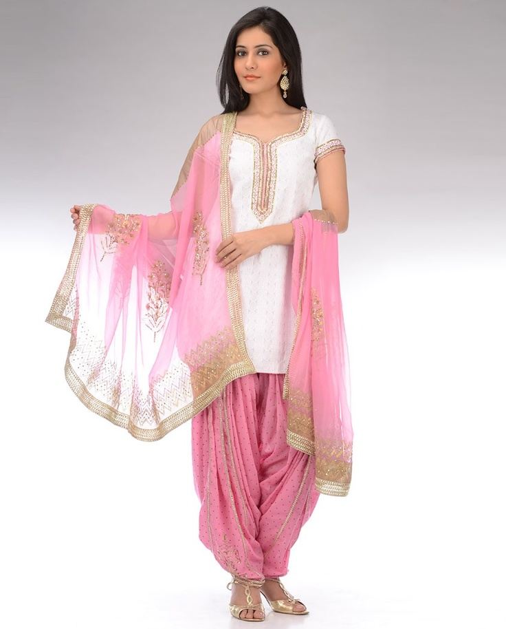 Snow White and Carnation Pink Printed Patiala Suit