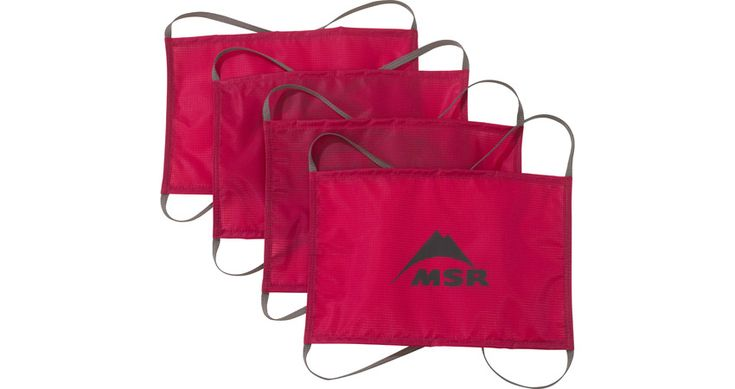 Cascade Designs/MSR® Snow/Sand Fabric Tent Anchors | MSR Gear.  Designed for filling with snow or sand, these high-strength fabric anchors offer more holding power than similar-size aluminum anchors but with half the weight. Sold as a kit of 4 anchors.