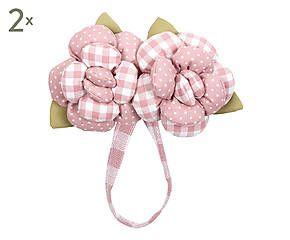 Set di 2 fermatende magnetici in cotone Rose bianco e rosa - 30x15 cm