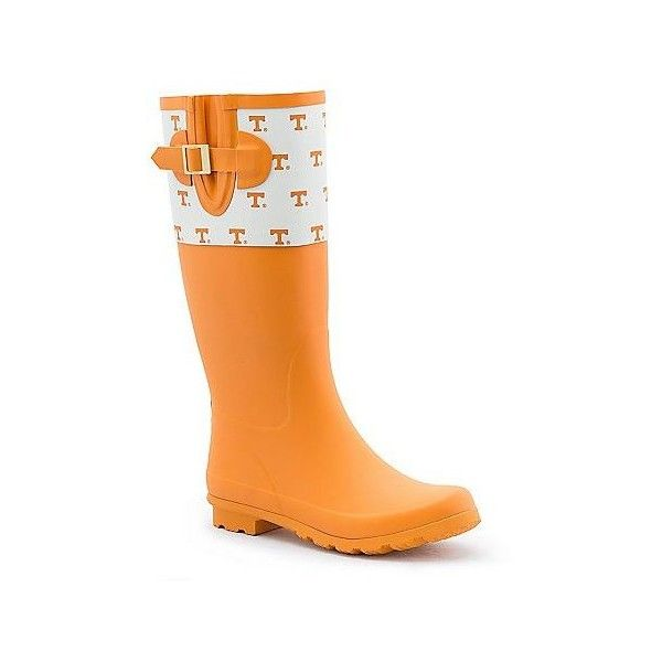 Women's Spirit Co. Tennessee Volunteers Rain Boots (394345 PYG) ❤ liked on Polyvore featuring shoes, boots, orange, waterproof boots, water proof boots, wellington boots, print rain boots and rubber boots