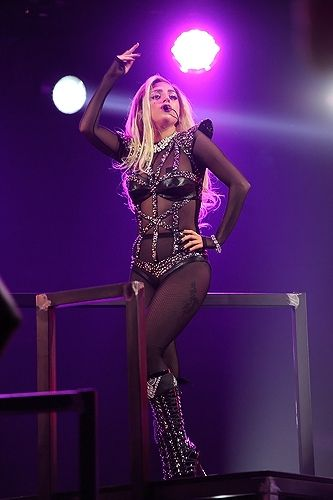Lady Gaga strikes a pose while performing at the 2011 iHeartRadio Music Festival in Las Vegas.