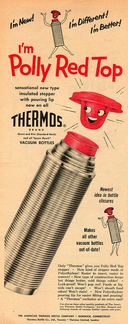 "My parents had something similar to this...probably the 60s version though.  ""Thermos vacuum bottle 1954""  (by it's better than bad, via Flickr)"