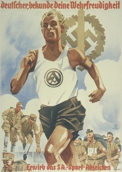 German SA Stormtroopers, sport poster, Ludwig Hohlwein