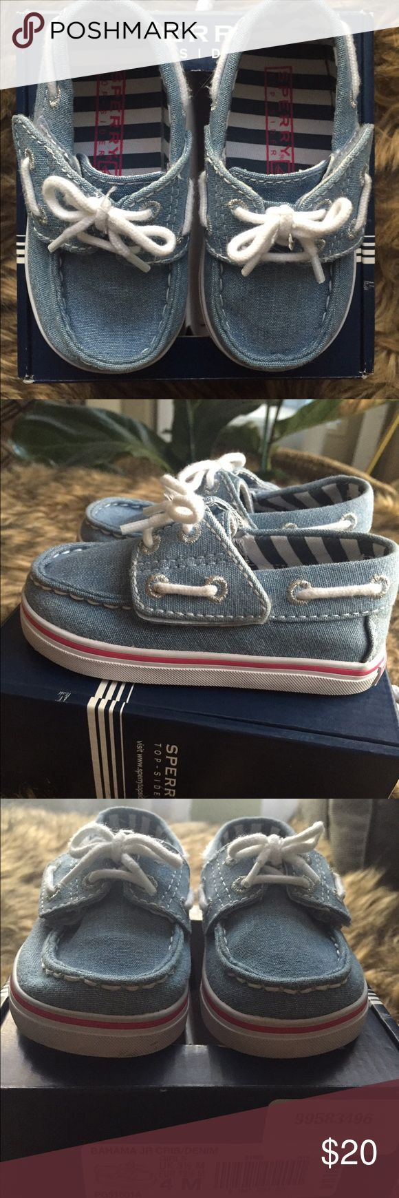 Sperry Top-Sider Bahama Jr. Crib Shoe - Denim Baby Sperry Top-Sider Bahama Jr. Crib Shoe in Denim with pink accents. Never worn, comes with box. Sperry Top-Sider Shoes Baby & Walker